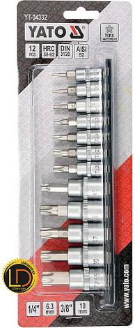 Набор головок с отверточными насадками Yato TORX-SECURITY 12шт, фото 2