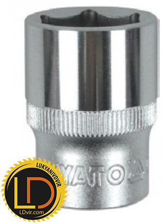 Головка Yato торцевая короткая 6-гранная CrV 1/2 15мм