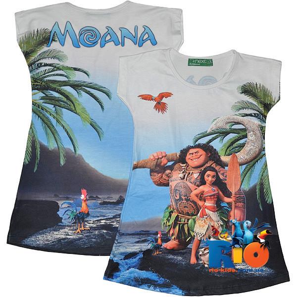 """Оригинальная туника с фотопринтом """"Moana"""" , трикотаж , для девочки от 3-12 лет (5 ед. в уп. )"""