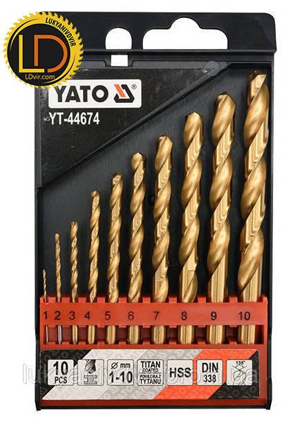 Набор сверл по металу Yato HSS-TiN 10 шт. 1-10мм