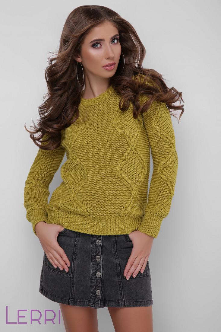 Теплий жіночий в'язаний светр оливковий