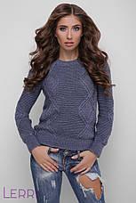 Теплий жіночий в'язаний светр оливковий, фото 3