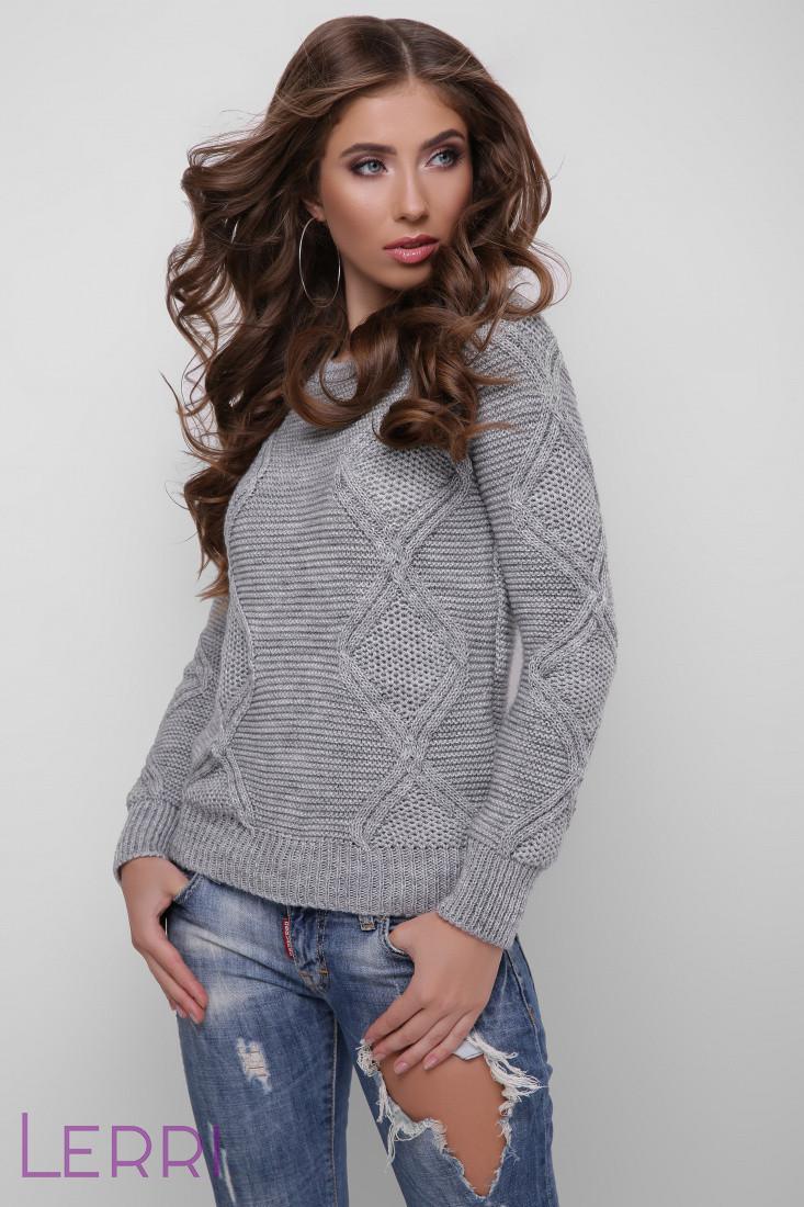 Стильный женский зимний свитер темно-серый
