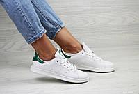 Женские кеды белые с зеленым Adidas Stan Smith 8058