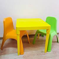 Набор детской пластиковой мебели - стол и 2 стул. (ЖЕЛТЫЙ СТОЛ) Украина