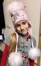 Детская шапка для девочки TRESTELLE Италия T19 362R Серый единорог