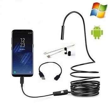 Эндоскоп 1м х 7мм, бороскоп для смартфона, USB мини камера для Android, ПК, USB / micro USB.