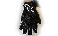 Мотоперчатки кожаные Alpinestars M-4544 (закр.пальцы, протектор-усилен, р-р XL, черный)