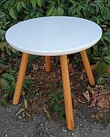 Детский столик круглый белый лак