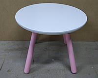 Детский столик круглый бело-розовый