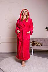 Длинный женский махровый халат цвет малина, размер S- 6 XL