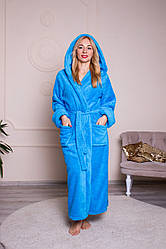 Длинный женский махровый халат голубого цвета, размер S- 6XL