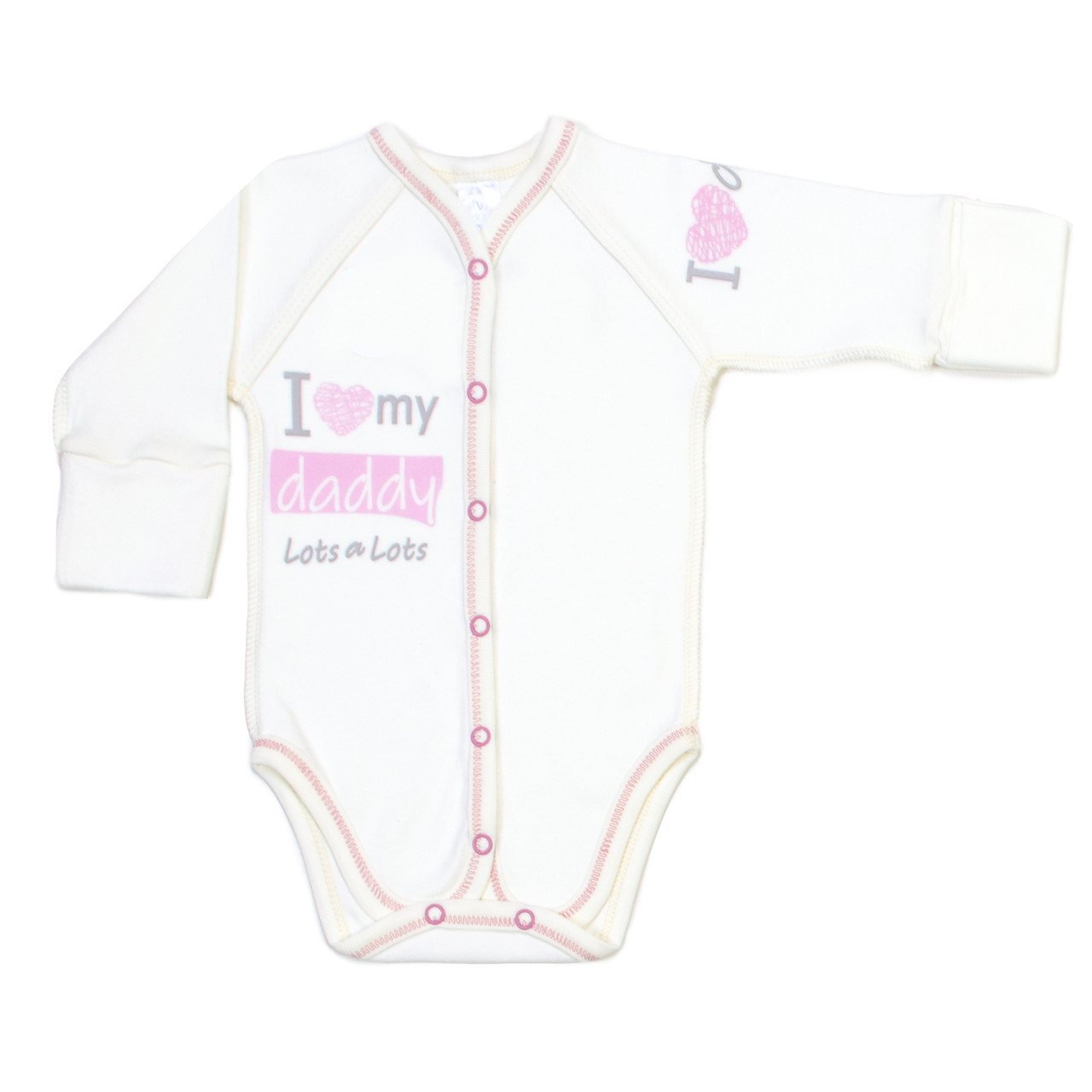 Боди для новорожденных Veres I love my daddy pink интерлок молочный