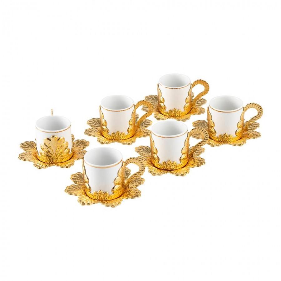 Набор чашек для кофе Золотистая Звезда на 6 персон
