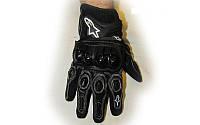 Мотоперчатки кожаные Alpinestars M11-BK (закр.пальцы, протектор-усилен, р-р L,M,XL, черный)