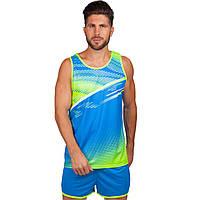 Форма для легкой атлетики мужская  (полиэстер, р-р M-4XL-150-185см, синий-салатовый)