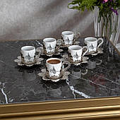 Набор чашек для кофе Серебристая Бабочка на 6 персон