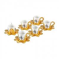 Набор чашек для кофе Золотистая Бабочка на 6 персон, фото 1