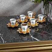 Набор чашек для кофе Золотистая Бабочка на 6 персон