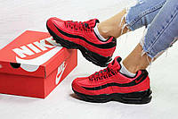 Женские кроссовки на зиму красные с черным Nike 95 6736