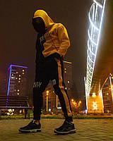 Спортивный костюм мужской ЗИМНИЙ OFF WHITE Х Sad Smile черно-желтый / Кенгуру + штаны на флисе