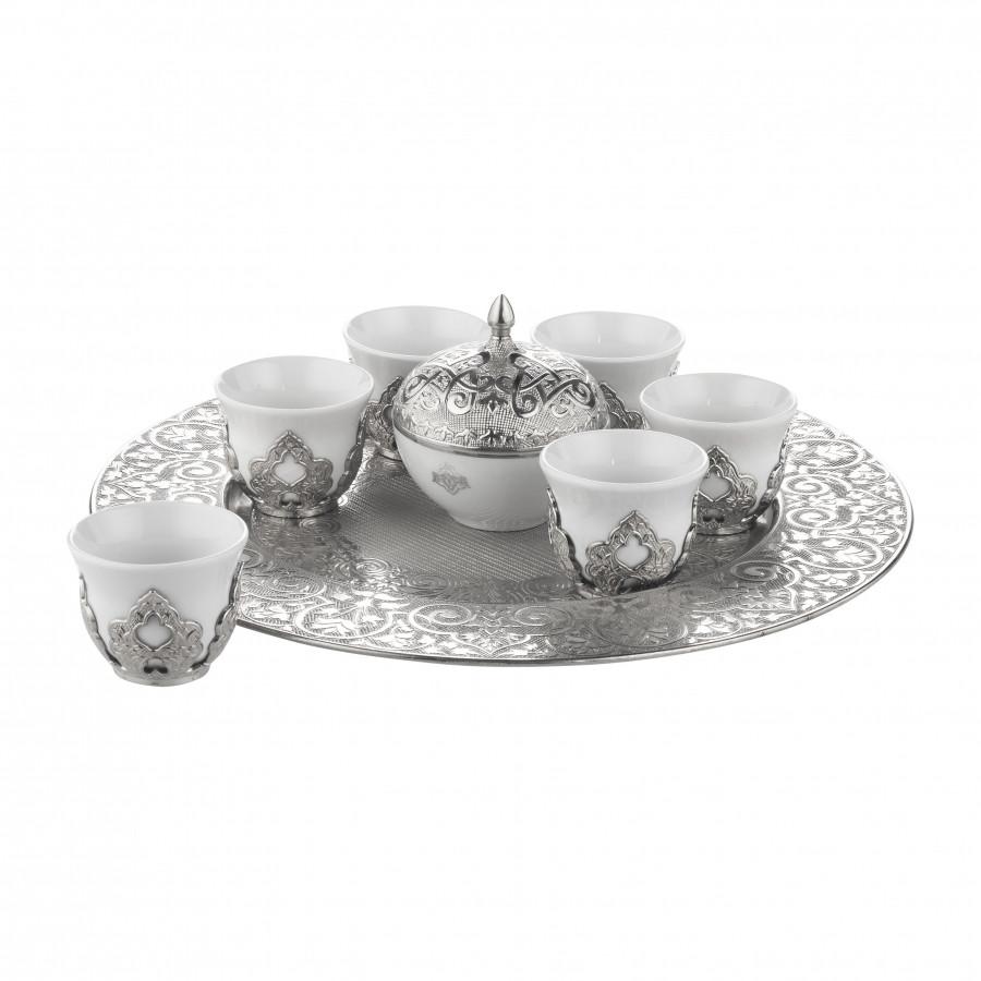 Набор чашек для кофе на 6 персон Sena Серебристый Мирра
