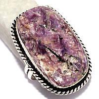 Чароит кольцо с натуральным чароитом в серебре 17 размер