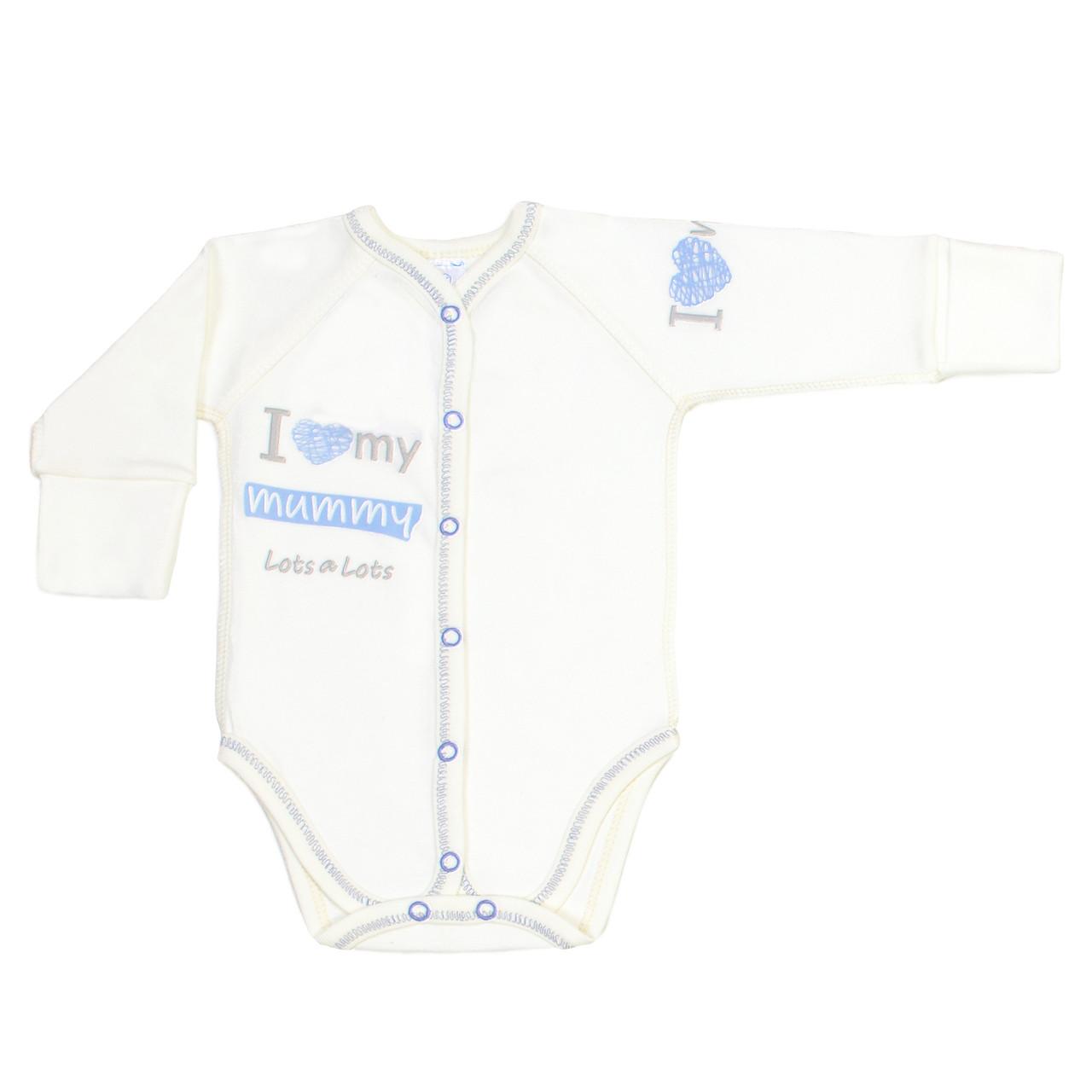 Боди для новорожденных Veres I love my mammy blue интерлок молочный