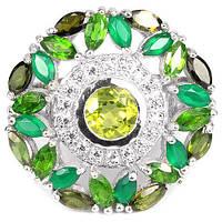 Кольцо из серебра с зелеными драгоценными камнями К1693 18 размер
