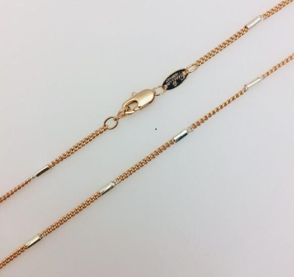Цепочка плетение Бочка+ классика, ширина 2 мм, длина 50 см, позолота+ родий