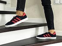 Женские кроссовки темно синие с красным Adidas Gazelle 8498