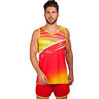 Форма для легкой атлетики мужская  (полиэстер, р-р M-4XL-150-185см, красный-желтый)