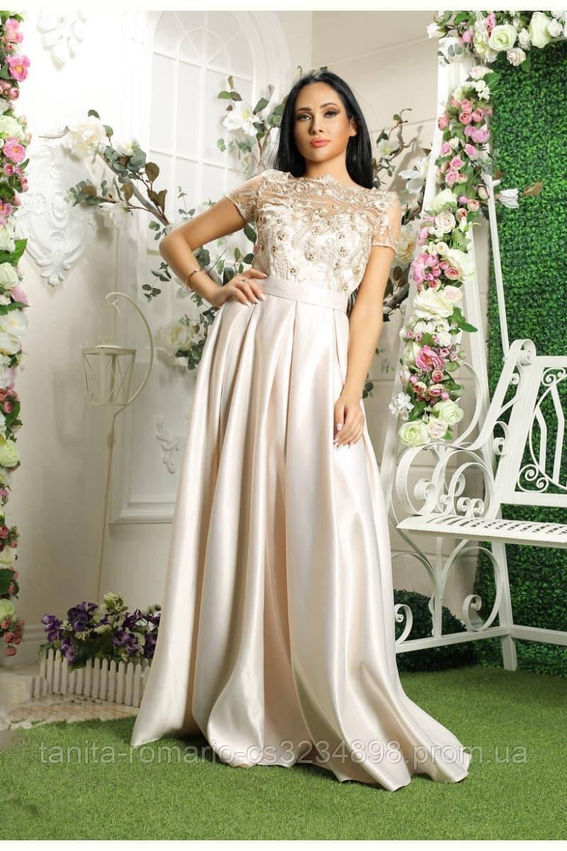 Вечернее платье 8031e Молочный