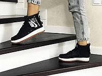 Женские кроссовки черные с белым Nike Air Force 1 8455