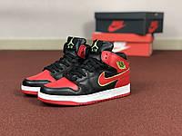 Женские кроссовки черные с красным и желтым Nike Air Jordan 1 Retro 8586