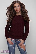 Світлий жіночий светр в'язаний шерстяний молочний, фото 2