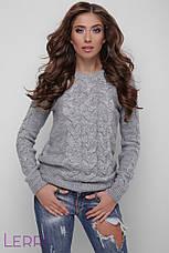 Светлый женский свитер вязаный шерстяной молочный, фото 3