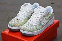 Женские кроссовки Nike Airforce белые с салатовым 2146