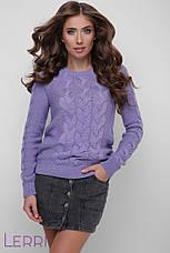 Світлий жіночий светр в'язаний шерстяний молочний, фото 3