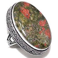 Серебряное  женское кольцо в винтажном стиле с натуральным унакитом