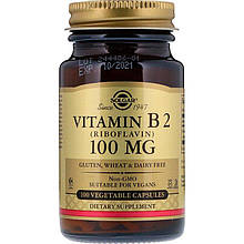 "Витамин В2, SOLGAR ""Vitamin B2 (Riboflavin)"" 100 мг (100 капсул)"