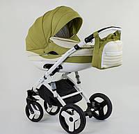 Детская коляска 2-в-1 Lumi (Люми эко-кожа) на пластиковой корзине d70 - оливковый