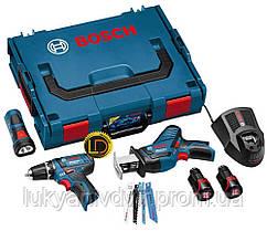 Набор Bosch 3-в-1 10.8В: GSR 10,8-2-LI + GSA 10,8 V-LI + GLI PowerLED