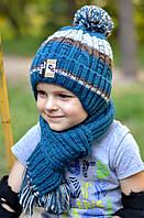 Шапка Рок, ЗИМА, флис. р. 52-56 от 4 лет. Морской,серо-голубой,св.серый, т.синий, фото 1