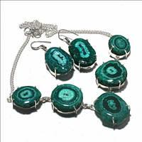 Серьги и колье - комплект женских украшений из серебра с зеленым солнечным кварцем