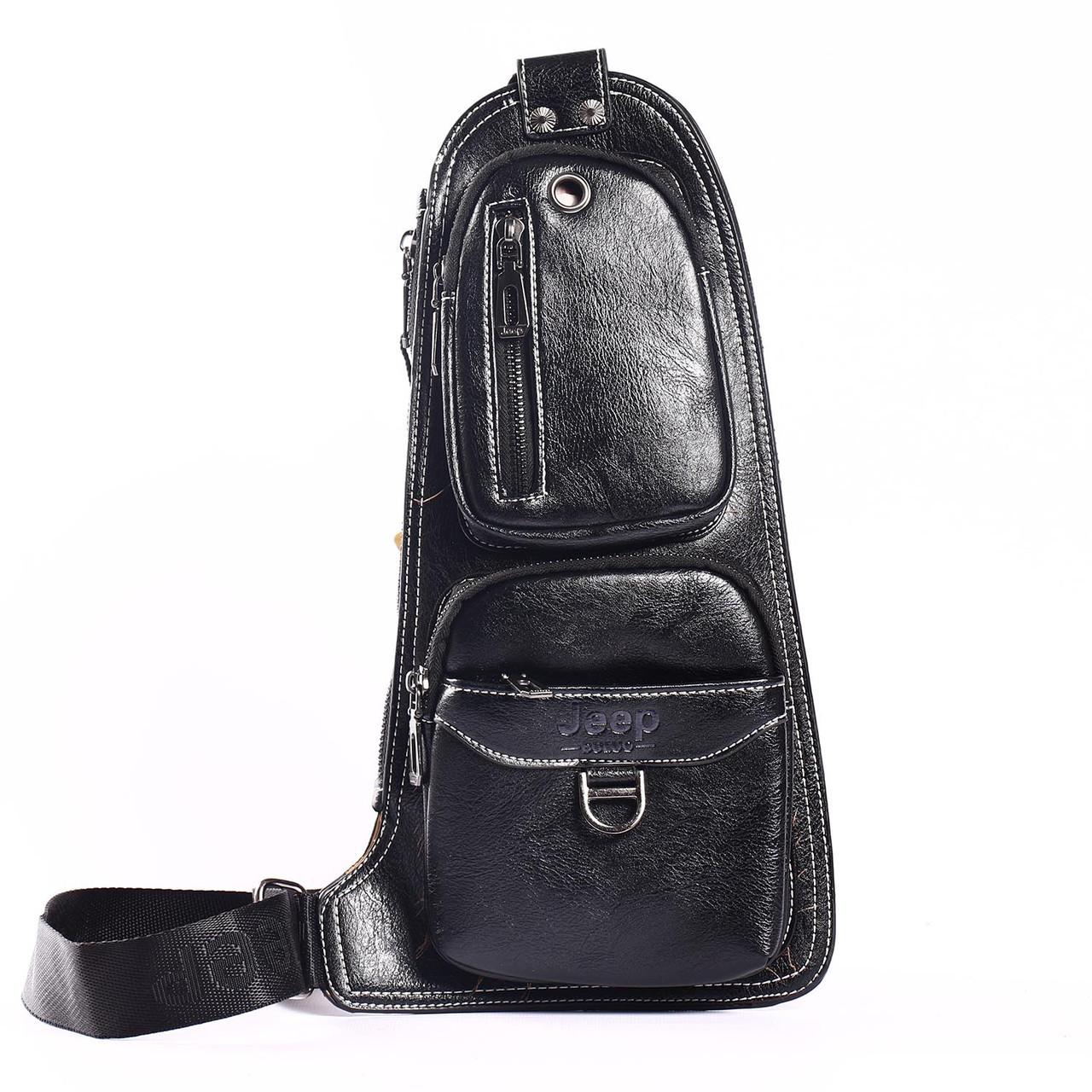 """Мужская сумка на грудь, мини-рюкзак """"Jeep 2 Black"""""""