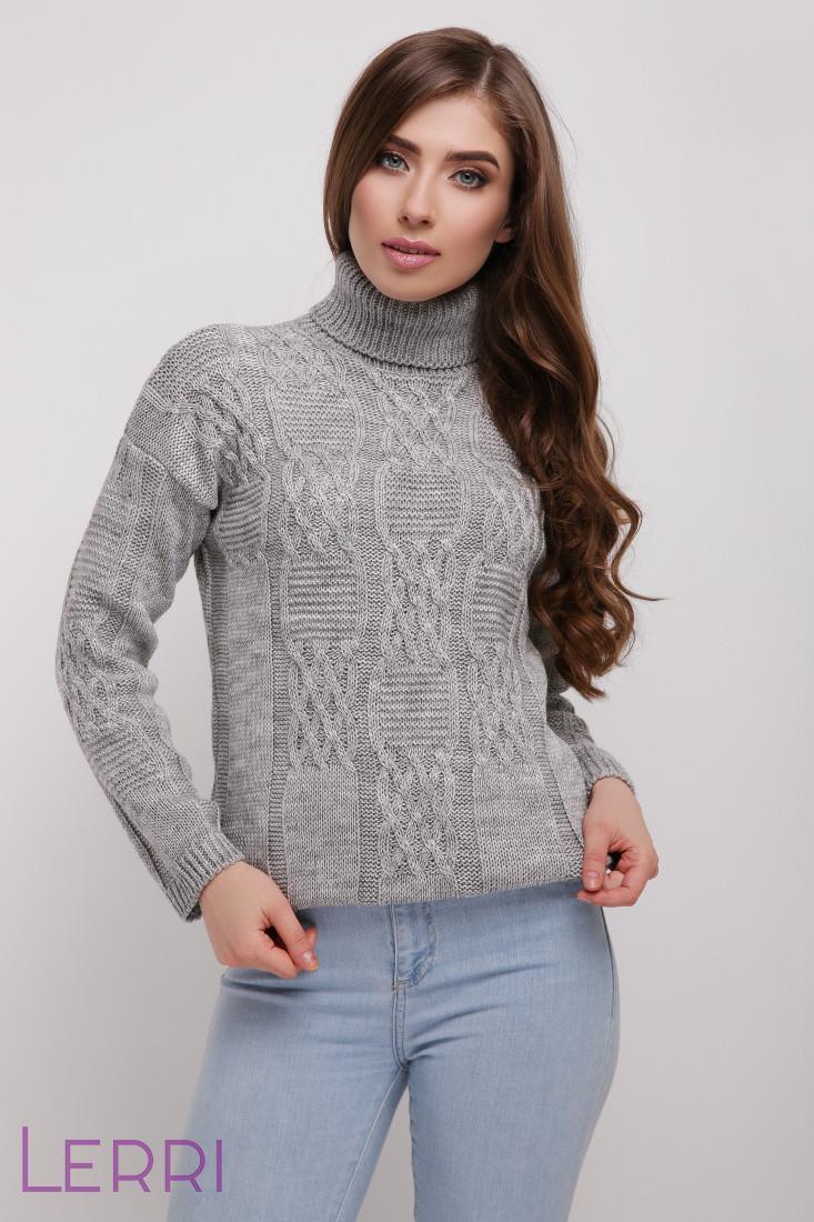 Стильный женский свитер с красивым узором серый