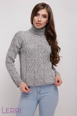 Стильный женский свитер с красивым узором серый, фото 2