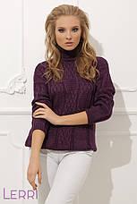 Стильный женский свитер с красивым узором серый, фото 3