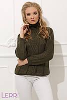 Уютный женский теплый свитер на зиму хаки